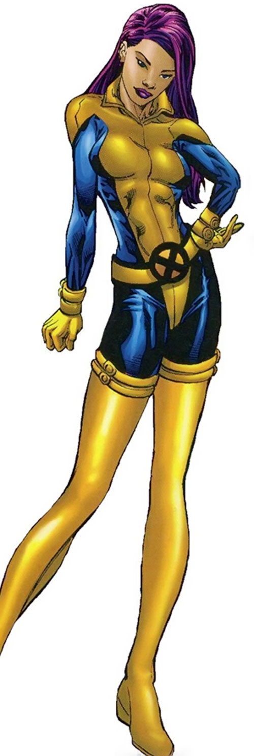 Psylocke of the X-Men and Exiles (Marvel Comics) in a blue and gold uniform