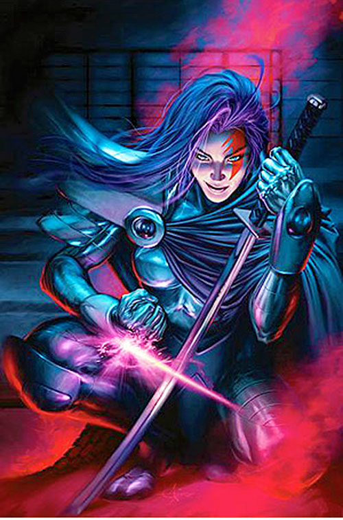 Psylocke of the X-Men and Exiles (Marvel Comics) with katana and body armor
