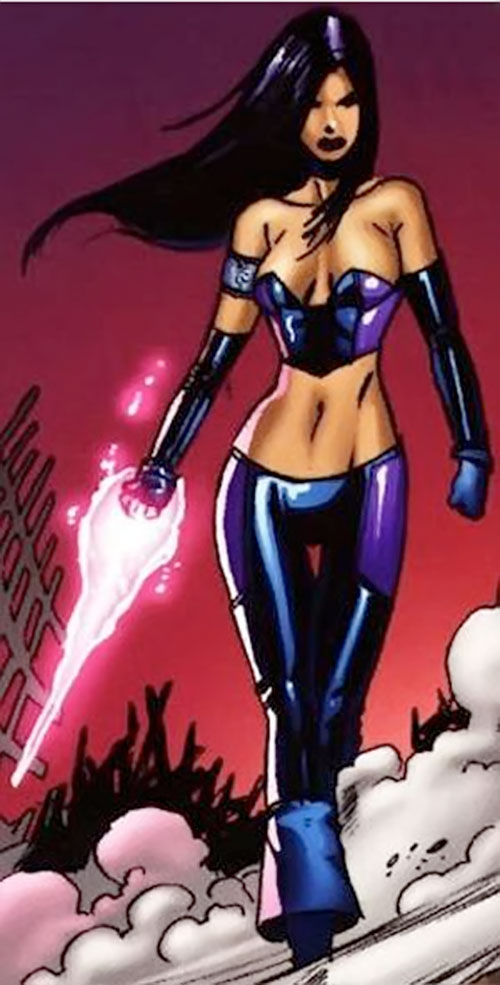 Psylocke of the X-Men and Exiles (Marvel Comics) in low-rider pants and a bustier