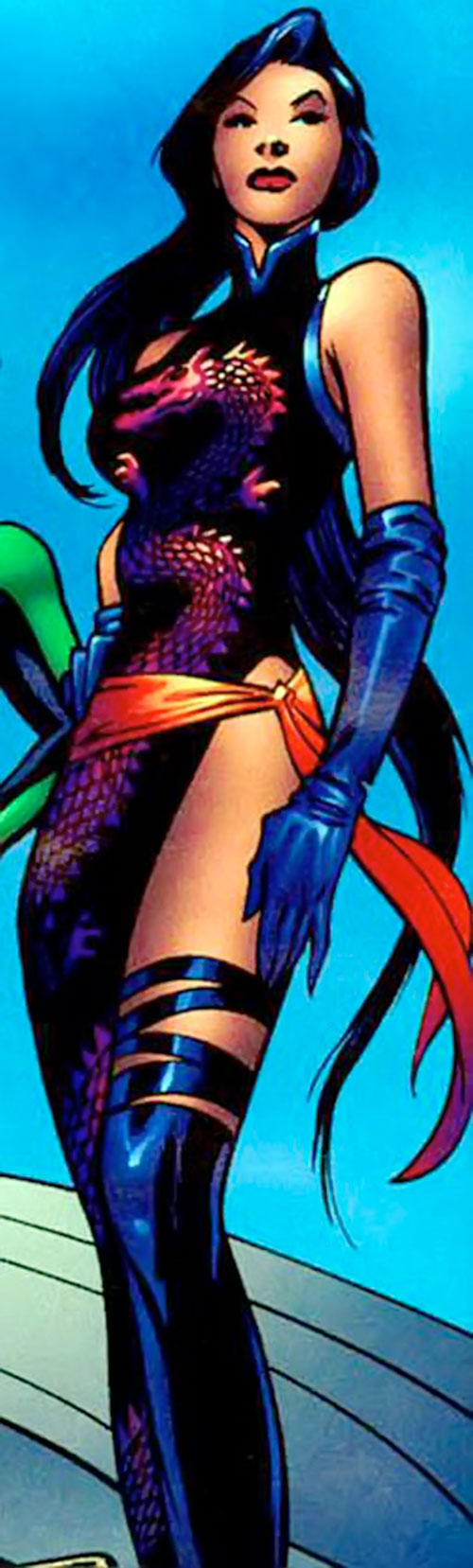 Psylocke of the X-Men and Exiles (Marvel Comics) with a dragon dress