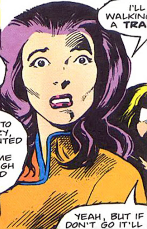 Psylocke of the X-Men (Marvel Comics) looks horrified