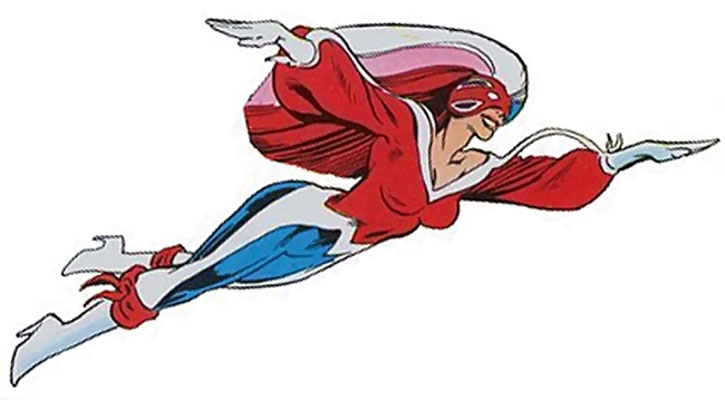 Psylocke as Captain Britain, flying over a white background