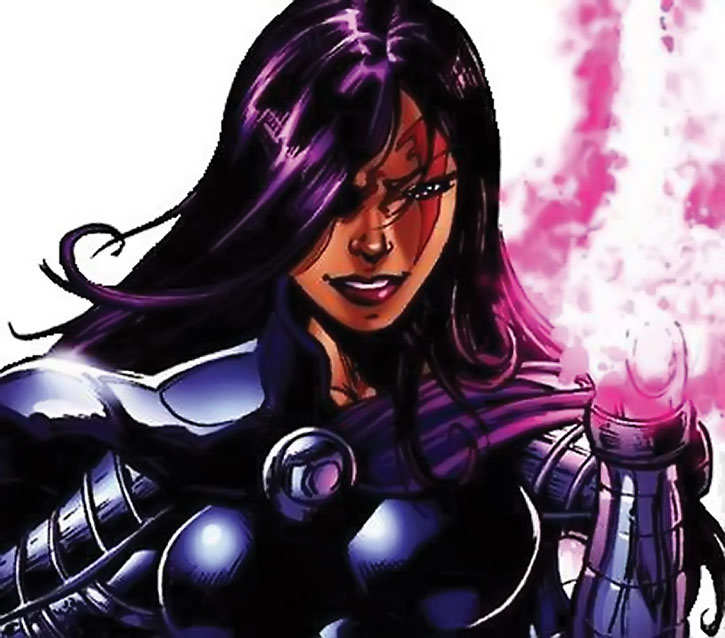 Psylocke in armor with her psychic knife