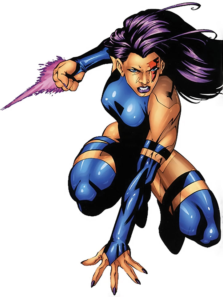 Psylocke in her blue costume, crouching with a dagger up