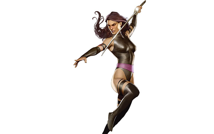 Psylocke posing with a sword over a white background
