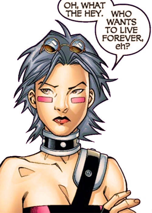 Puck of Alpha Flight (Zuzha Yu) (Marvel Comics) face closeup