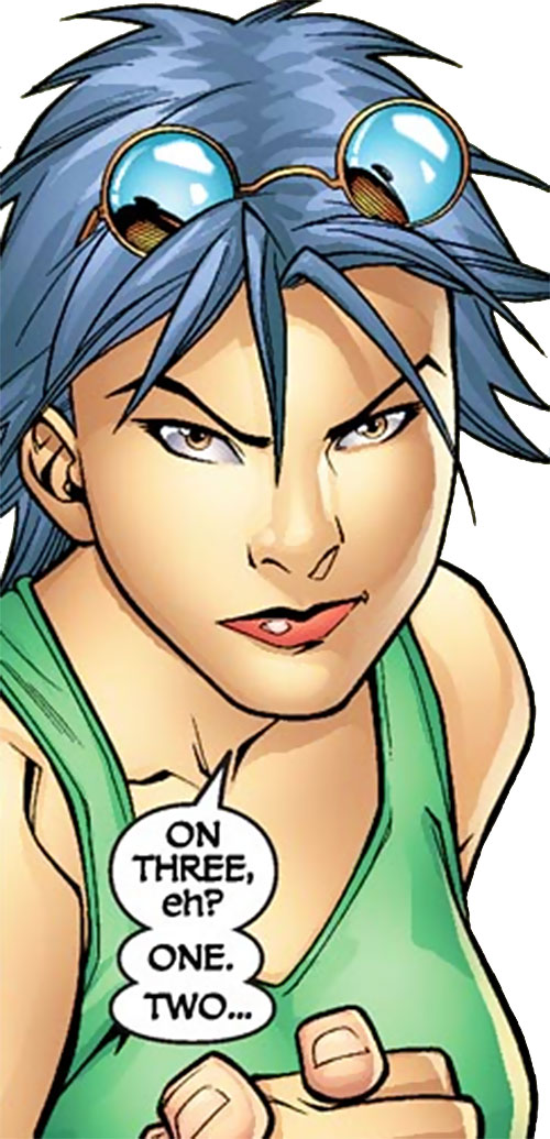 Puck of Alpha Flight (Zuzha Yu) (Marvel Comics) in a green tank top