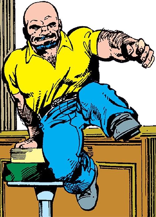 Puck (Alpha Flight) (Marvel Comics) (Eugene Judd) leaping from a bar stool