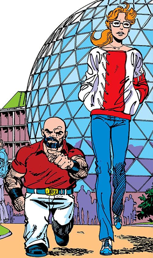 Puck (Alpha Flight) (Marvel Comics) (Eugene Judd) and Heather Hudson in a park