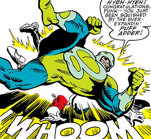 Puff Adder of the Serpent Society (Marvel Comics) doing an elbow drop