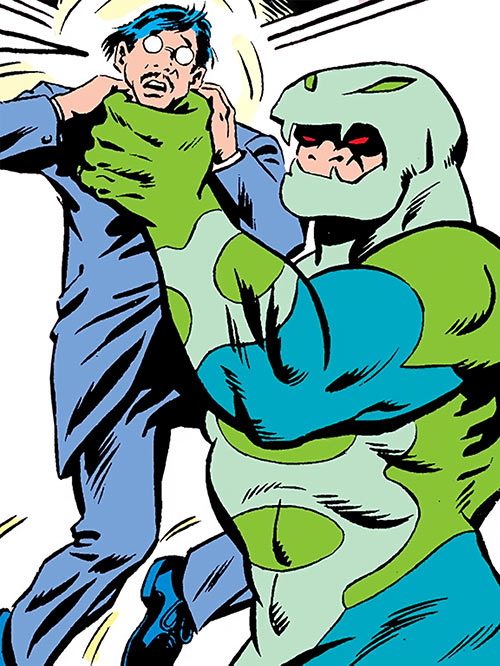 Puff Adder of the Serpent Society (Marvel Comics) threatening a man in a suit
