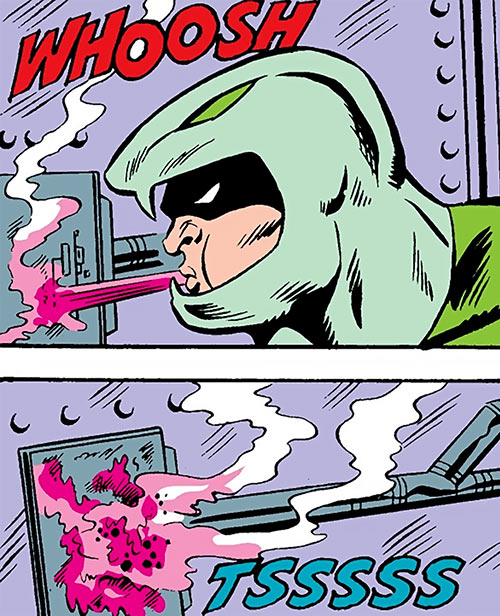 Puff Adder of the Serpent Society (Marvel Comics) spitting acid on a lock