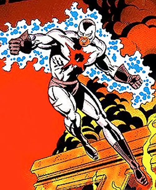Pulsar (Champions RPG) color art with the white costume