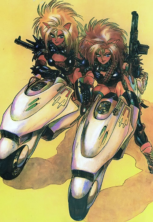 The Puma sisters with guns and motorcycles
