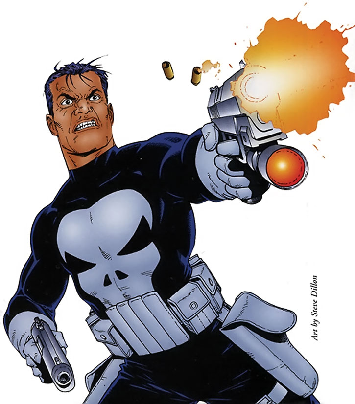 The Punisher on a white background, by Steve Dillon