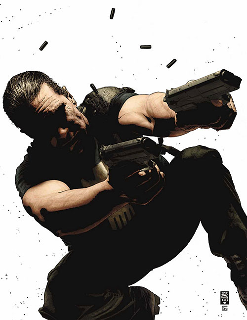 Punisher (Marvel Comics) shooting paired pistols