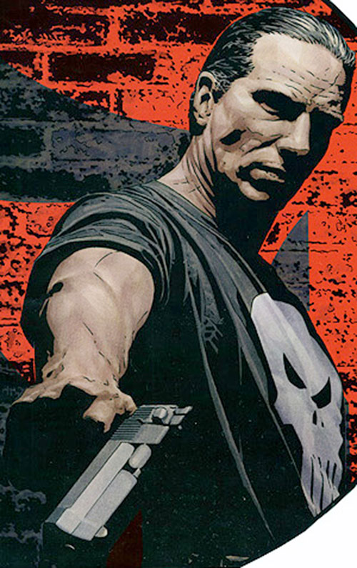 Punisher (Marvel Comics) pointing a Desert Eagle
