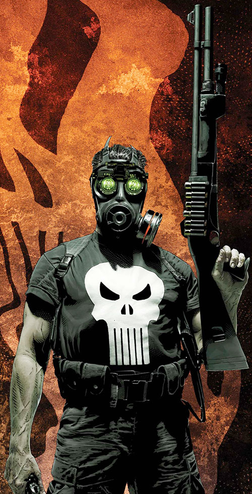 Punisher (Marvel Comics) with a shotgun, gas mask and night vision goggles