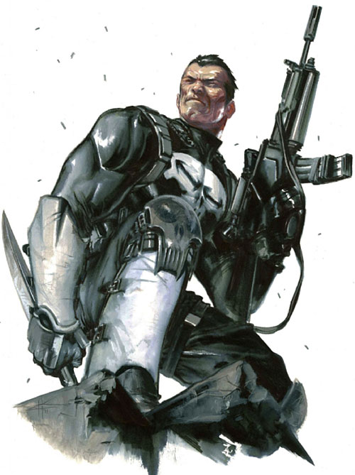 Punisher (Marvel Comics) with an assault rifle and large knife