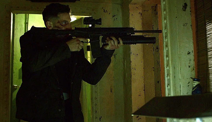 Punisher (Jon Bernthal in Netflix's Daredevil season #2) aiming an assault rifle