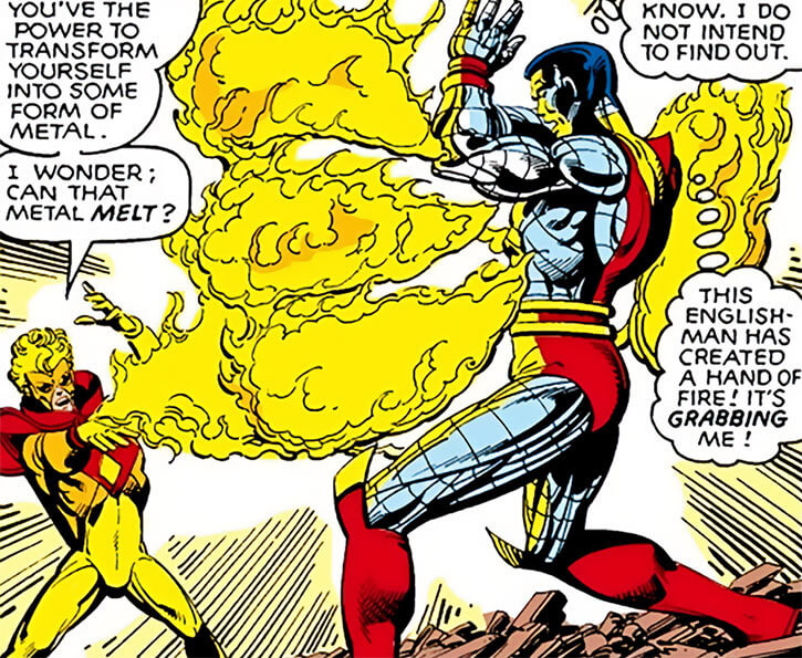Pyro - Marvel Comics - X-Men mutant enemy - Fire claw vs Colossus