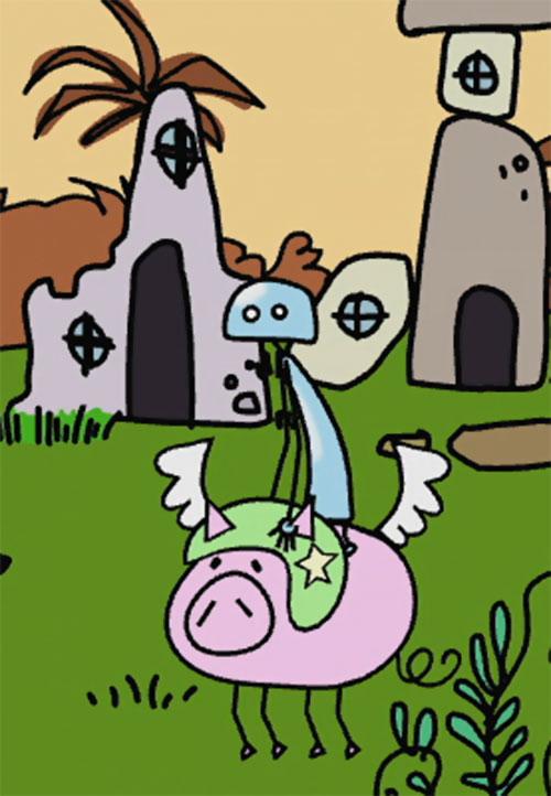 QT3 (Doki Doki Universe) riding a flying pig