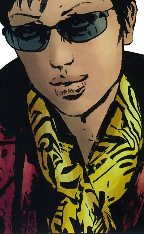 Quake (Daisy Johnson) (Marvel Comics) with sunglasses and a yellow scarf