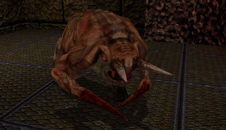 Fiend in Quake (Dark Places textures), patrolling