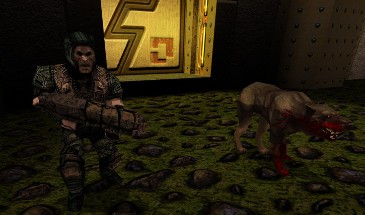 Grunt and rottweiler in Quake 1 Dark Places