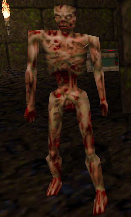 Quake zombie guarding a stimpack