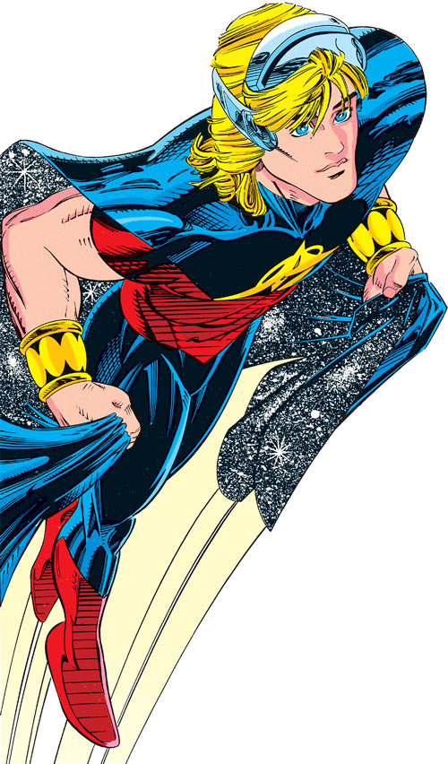 Quasar (Marvel Comics) (Vaughn) (Classic) - flying with tech visor