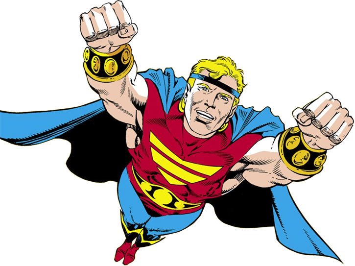 Quasar (Marvel Comics) (Vaughn) (Classic) flying heroically