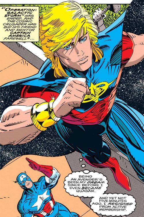 Quasar (Marvel Comics) (Vaughn) (Classic) - with Captain America