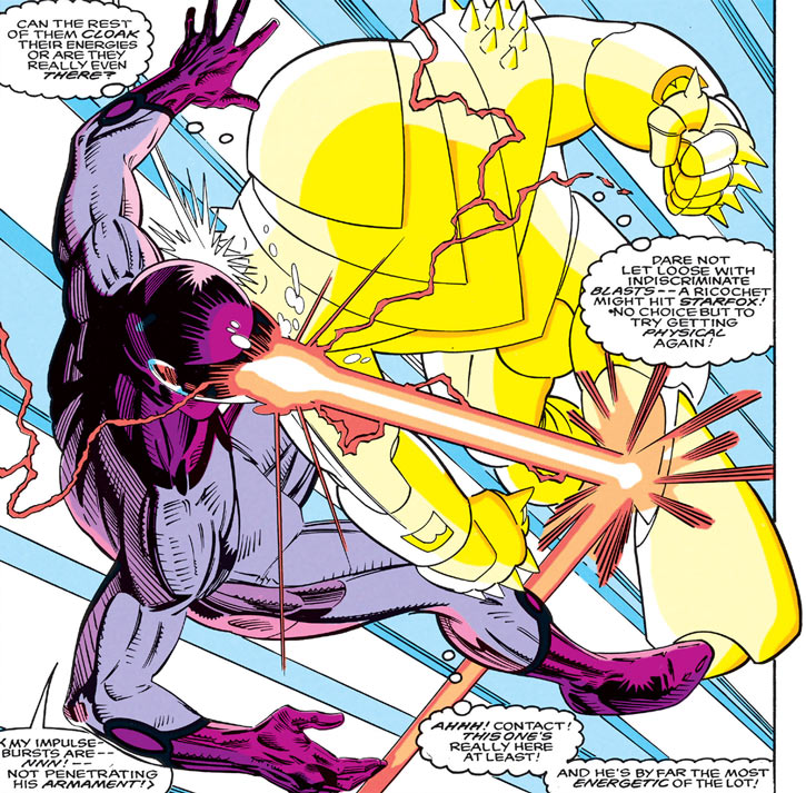 Quasar (Marvel Comics) (Vaughn) (Classic) in force armor vs. Impulse