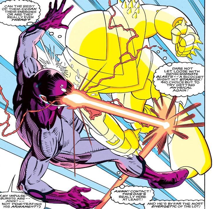 Quasar (Marvel Comics) (Vaughn) (Classic) in force armor vs. Impulse