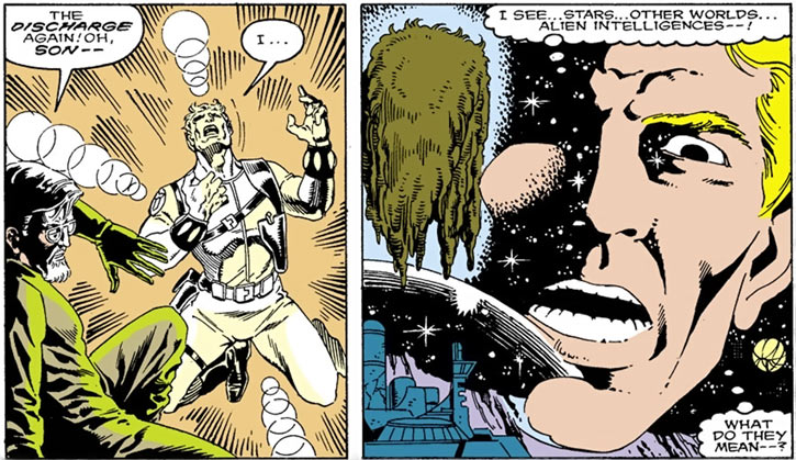 Quasar (Marvel Comics) (Vaughn) (Classic) - first vision when putting on the bands