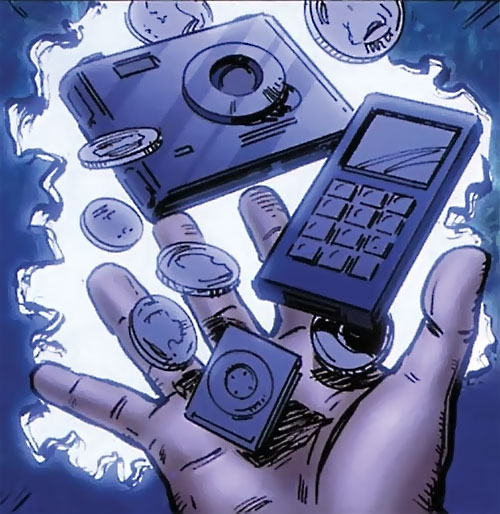 Qubit (Irredeemable comics) manipulating metals and electronics