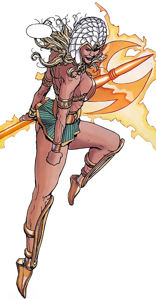 Clea (Wonder Woman enemy) (DC Comics) flying with her magic polearm