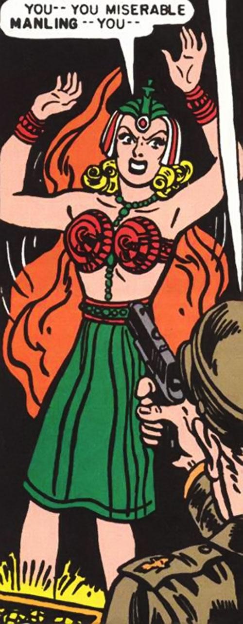 Queen Clea of Atlantis (Wonder Woman enemy) (Golden Age DC Comics) held at gunpoint
