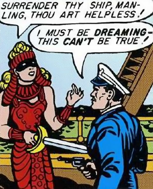 Queen Clea of Atlantis (Wonder Woman enemy) (Golden Age DC Comics) in red, threatening a sailor with her sabre