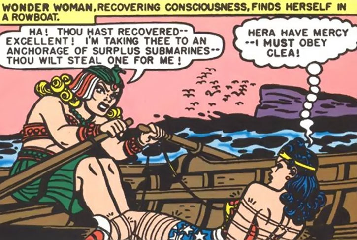 Queen Clea rows with a captain Wonder Woman