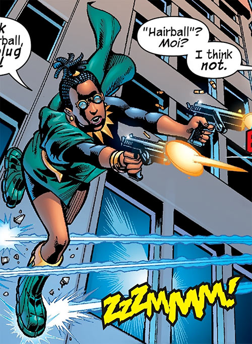 Queen Divine Justice (Black Panther character) (Marvel Comics) using her guns and vibranium boots