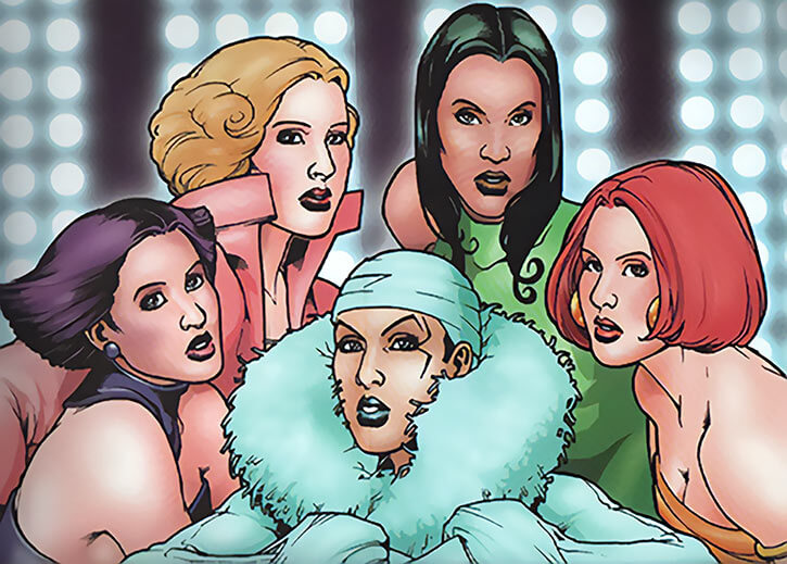 Comic book version of Queen Femina and the Amazonistas