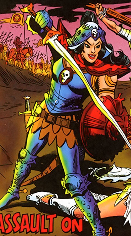Queen of Chaldonor (Wonder Woman enemy) (DC Comics) in battle
