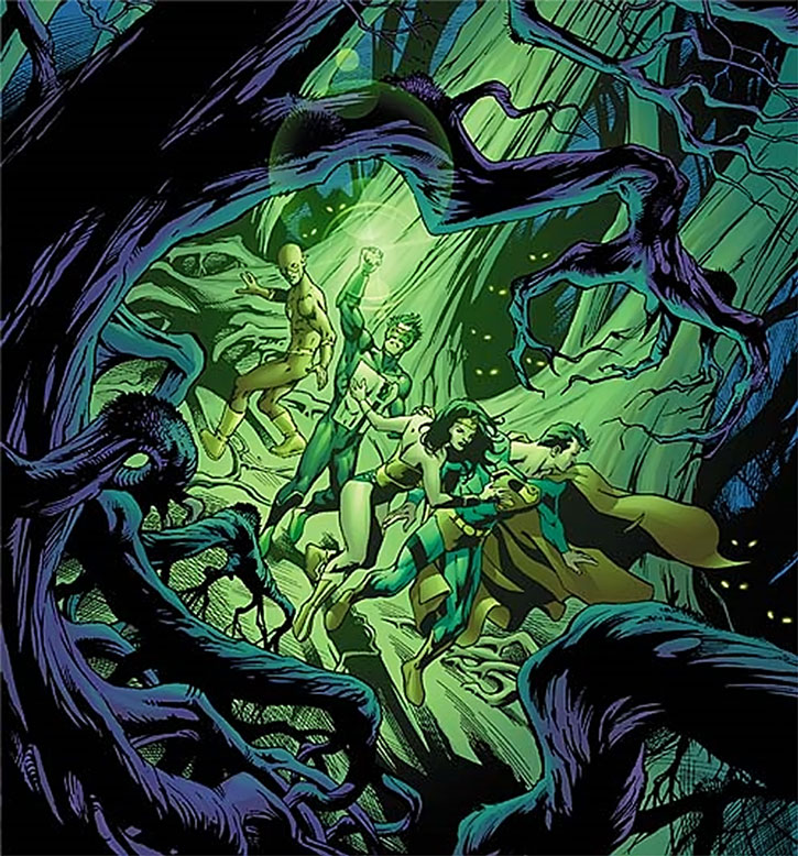 The Queen of Fables catches the JLA in a cursed forest