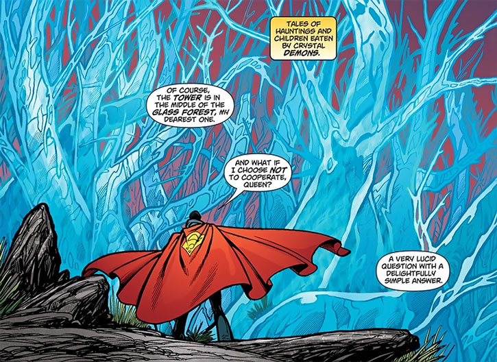 The Queen of Fables casts Superman into a Kryptonian glass forest