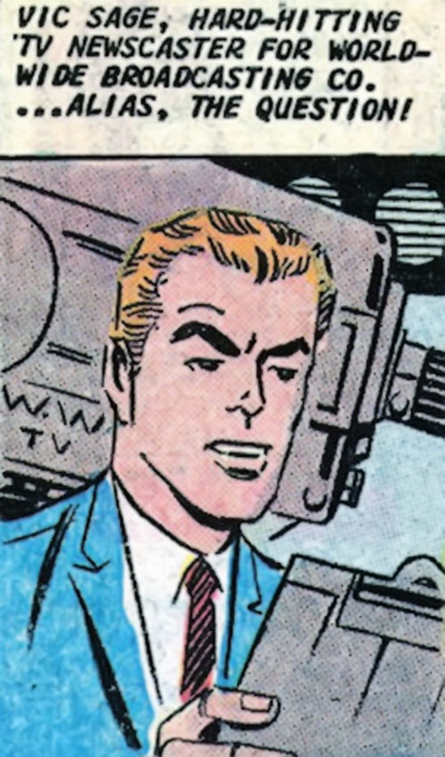 The Question (Ditko take) (Charlton Comics) doing a newscast
