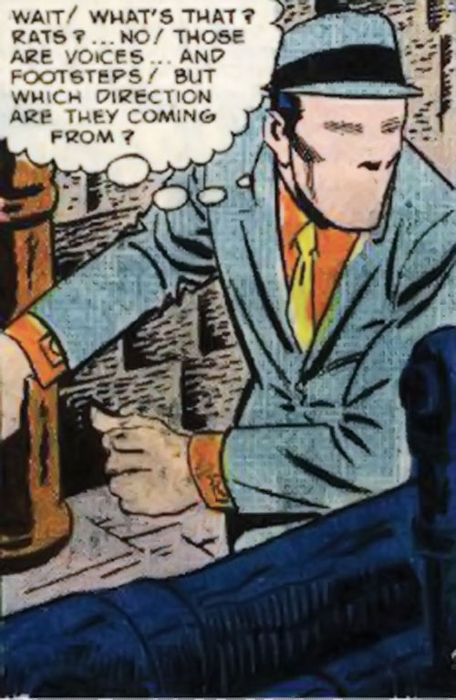 The Question (Ditko take) (Charlton Comics) sneaking around