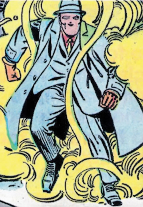The Question (Ditko take) (Charlton Comics) in a cloud of yellow gas