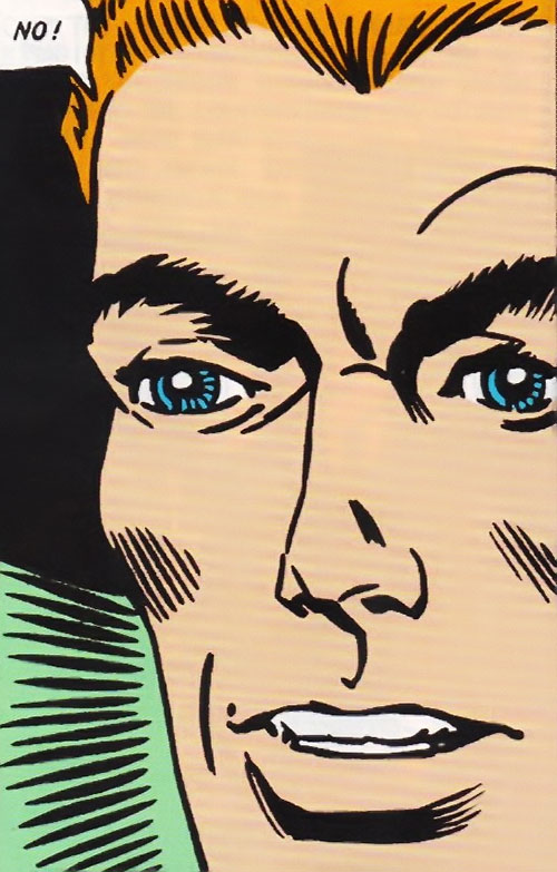 The Question (Ditko take) (Charlton Comics) face closeup